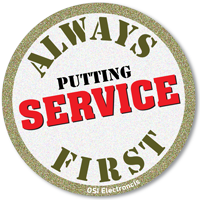 OSI Electronics UK – we put service first stamp.