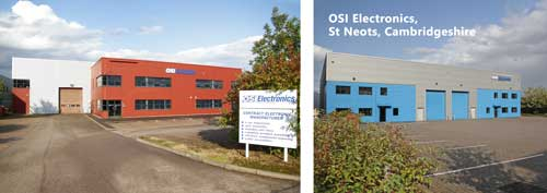 The OSI Electronics UK buildings in St Neots, Cambridgeshire. They cover 55,000 ft² of manufacturing and office space.