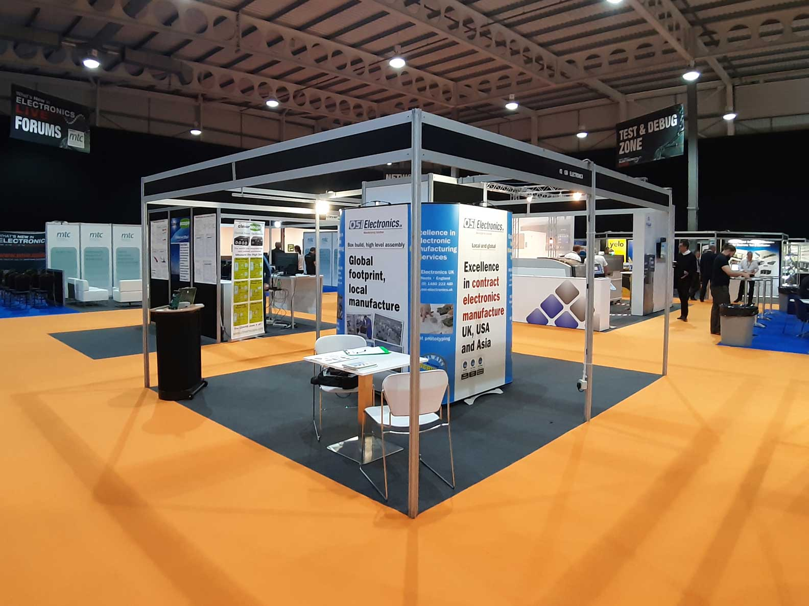 Waiting for WNIE 2019 to open – the OSI Electronics UK stand at What's New in Electronics Live / NAEC at Stoneleigh, Warwickshire, 18th and 19th September. Stand I12.