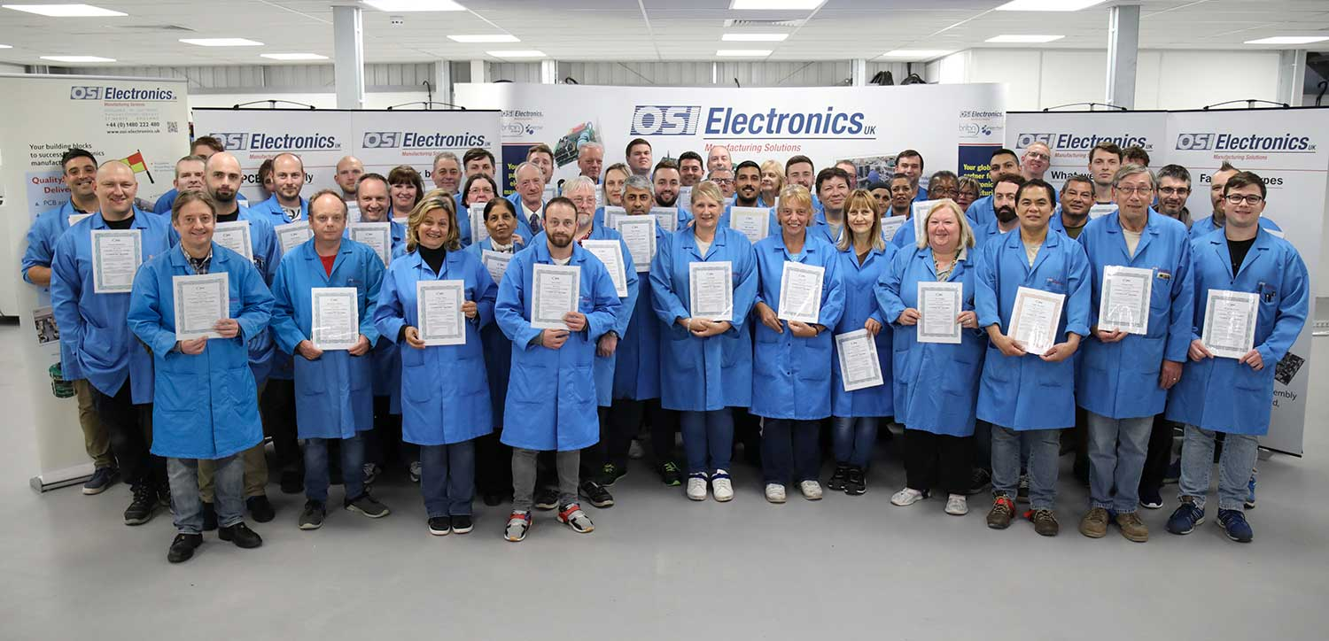 Proud achievement! All the shop floor employees at OSI Electronics in St Neots with their IPC-A-610 Class 3 certificates.