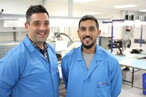 Ritchie Eagleton (left) and Sonney Badhan, IPC trainers at OSI Electronics UK.