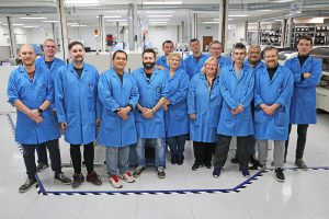 The SMT team at OSI Electronics UK's facility in St Neots, Cambridgeshire. Every year they produce and test many hundreds of thousands of populated PCBs.