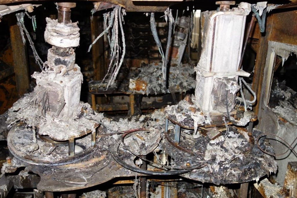 Charred equipment in the Renesas semiconductor factory after a fire on 19th March 2021. Photo: Renesas Electronics Corp.