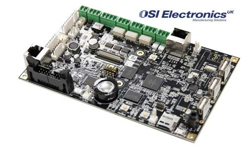 A complex printed circuit board made by OSI Electronics UK at its St Neots, Cambridgeshire, factory.
