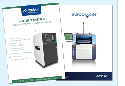 OSI Electronics UK has just installed (May 2021) an ALeader 3D SPI solder paste inspection unit (the first in the UK) along with a Europlacer SP710-AVi printer as part of upgrading its SMT hall to meet its customers' requirements. The 3D SPI can handle 12-layer, A3 sized flex-rigid assembly PCBs and the new printer 610 x 515 mm PCBs.